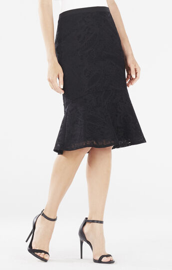 Siman Lace Flounce Hem Skirt