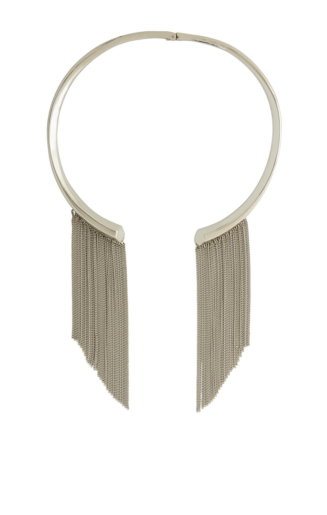 Faceted Fringe-Detail Collar Necklace