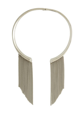 Faceted Fringe-Detail Collar Necklace