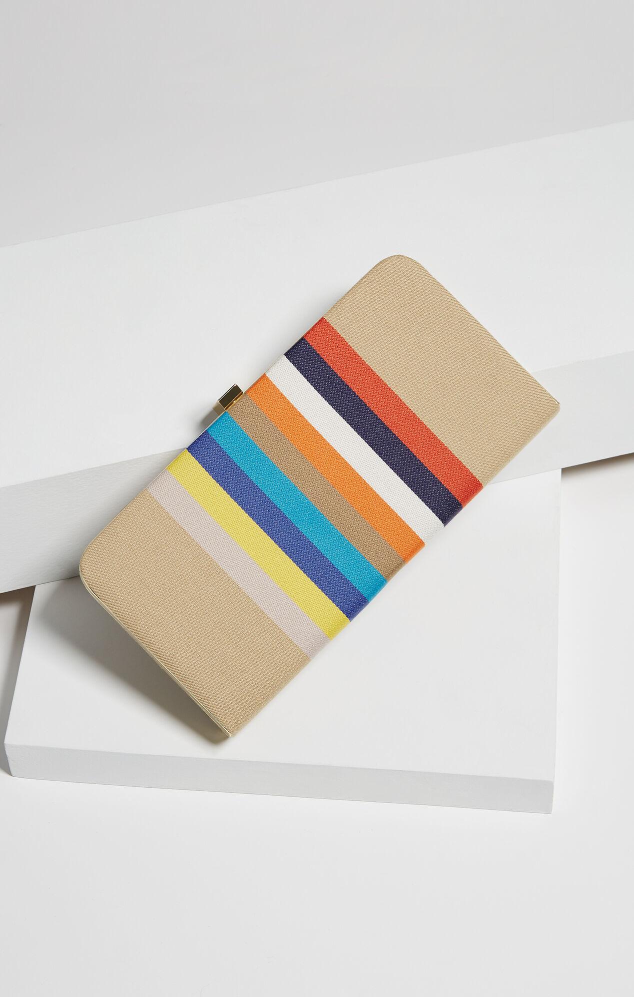 Viona Striped Canvas Clutch