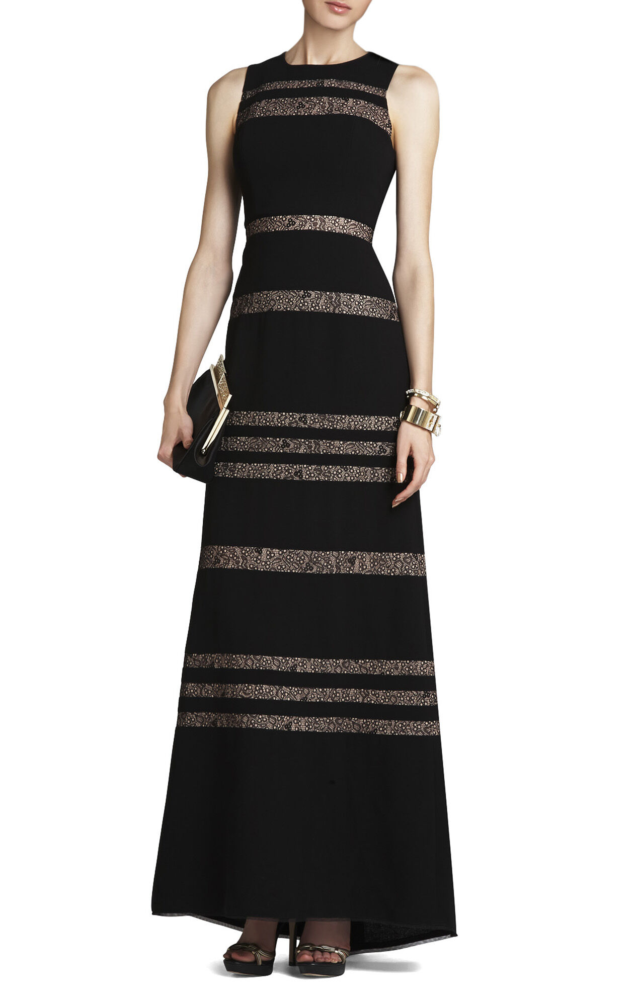 Katiana Lace-Inset Sleeveless Gown