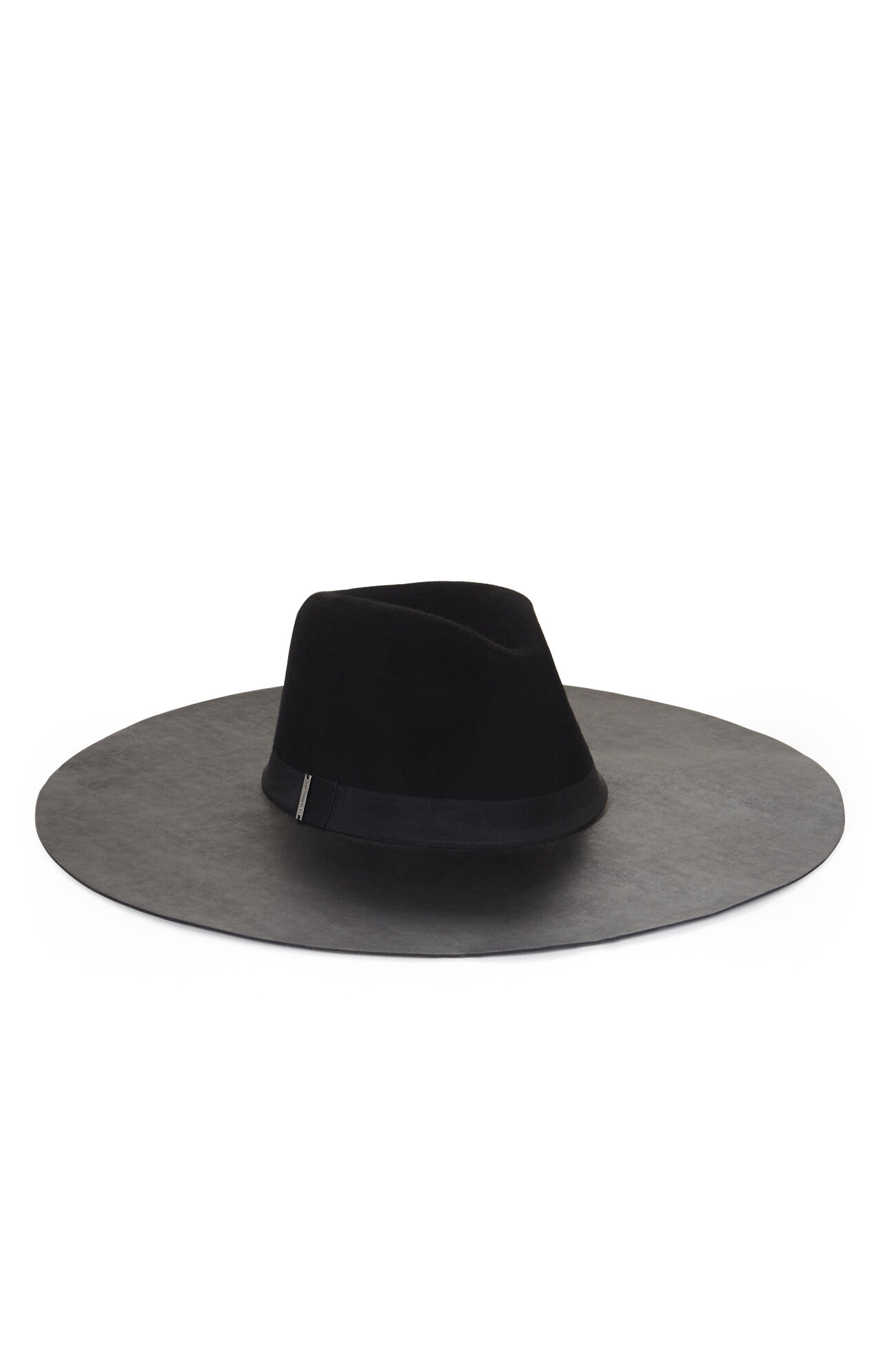 Faux-Leather and Felt Floppy Hat