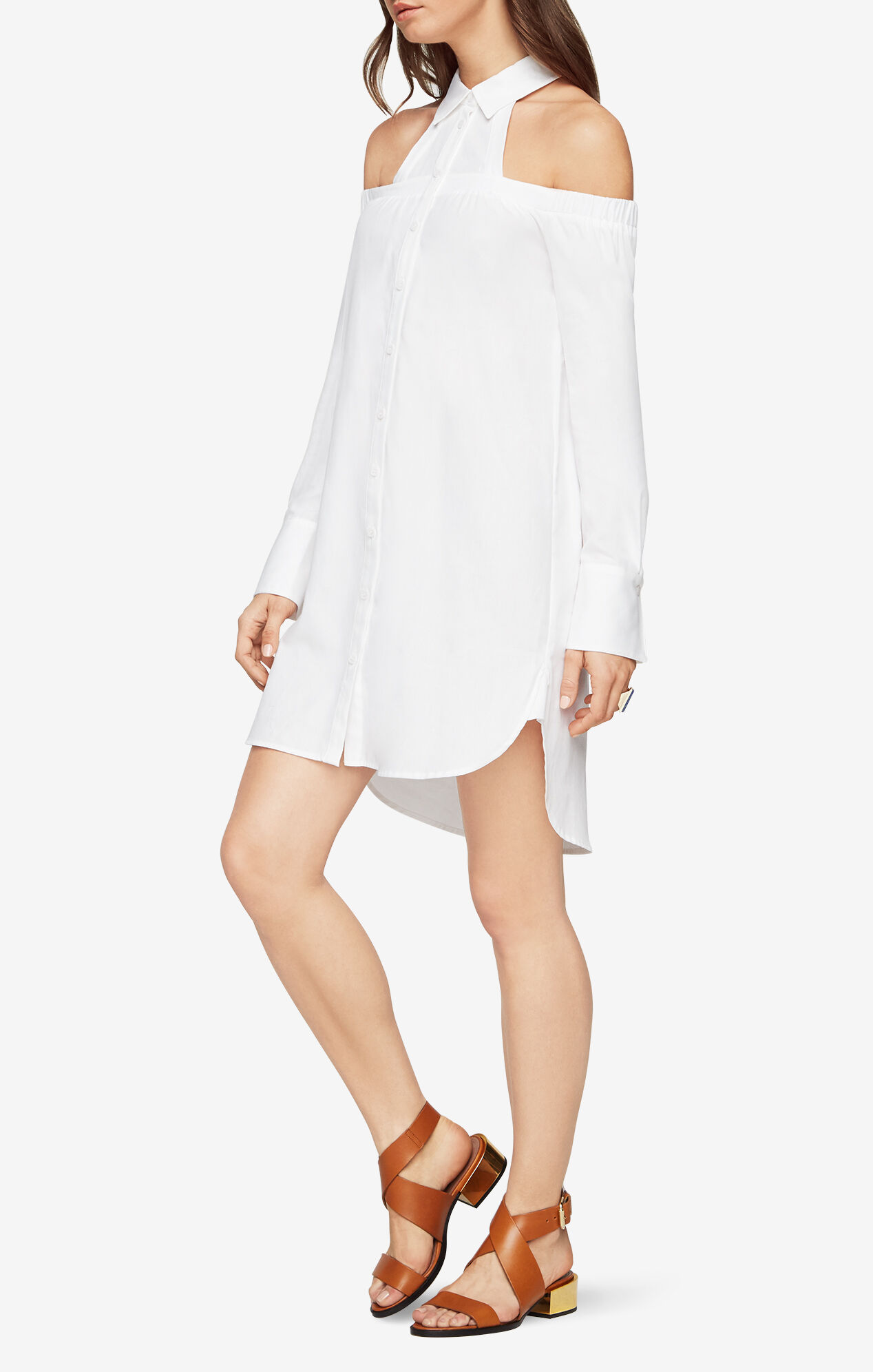 Rowan Cold-Shoulder Shirt Dress