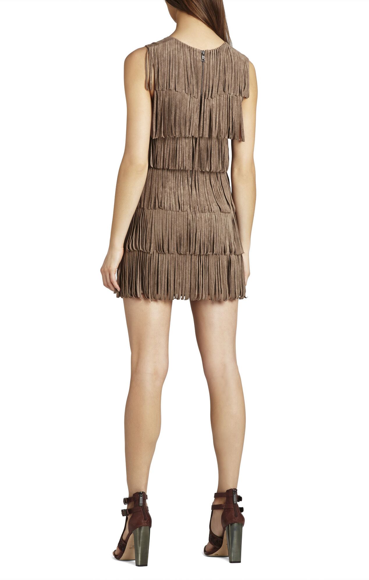 Laylee Sleeveless Fringe-Detailed Sheath