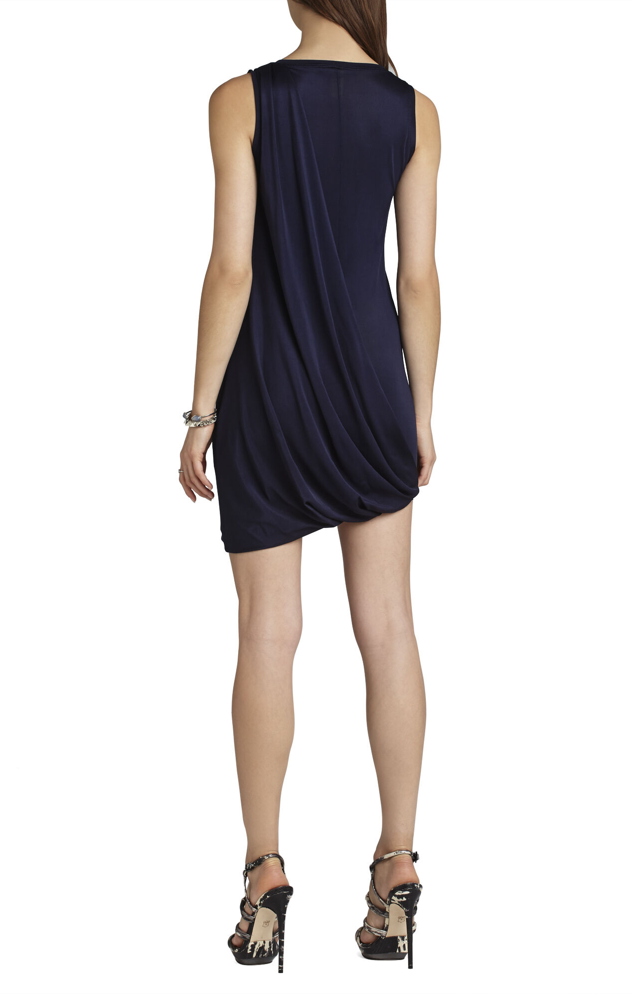 Evie Draped-Side Bubble-Skirt Dress
