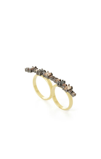 Multi-Stone Double-Finger Ring