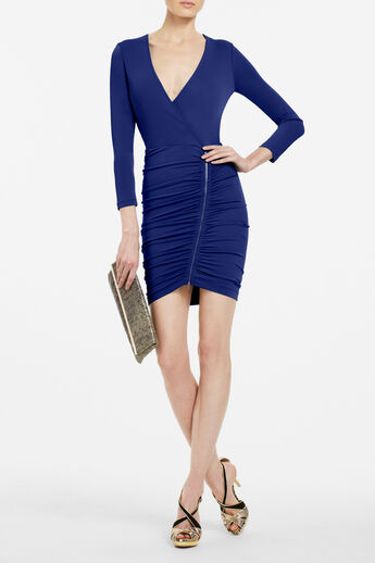 Dalton Zip-Front Jersey Dress
