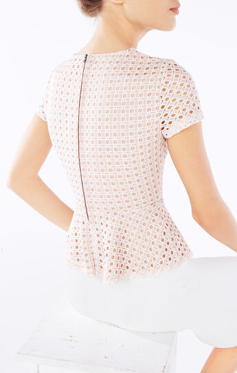 Kaleigh Lace-Blocked Peplum Top