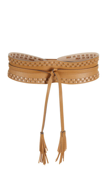 Whipstitch Faux-Leather Waist Belt