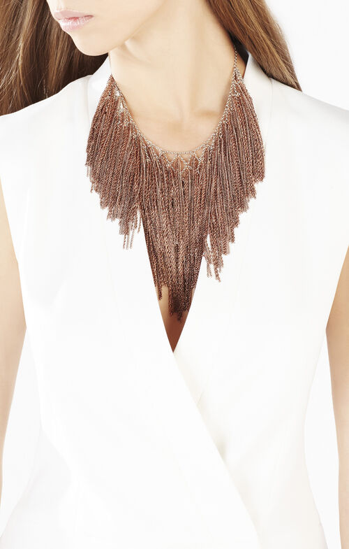Lattice Woven Chain Fringe Necklace
