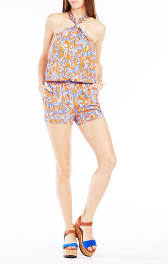 Casli Twist-Halter Ikat Scroll Print Romper