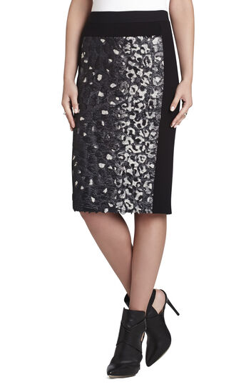 Ines Coated Faux-Fur Pencil Skirt