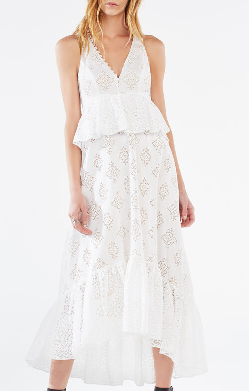 Tilda Burnout Mesh Peplum Dress