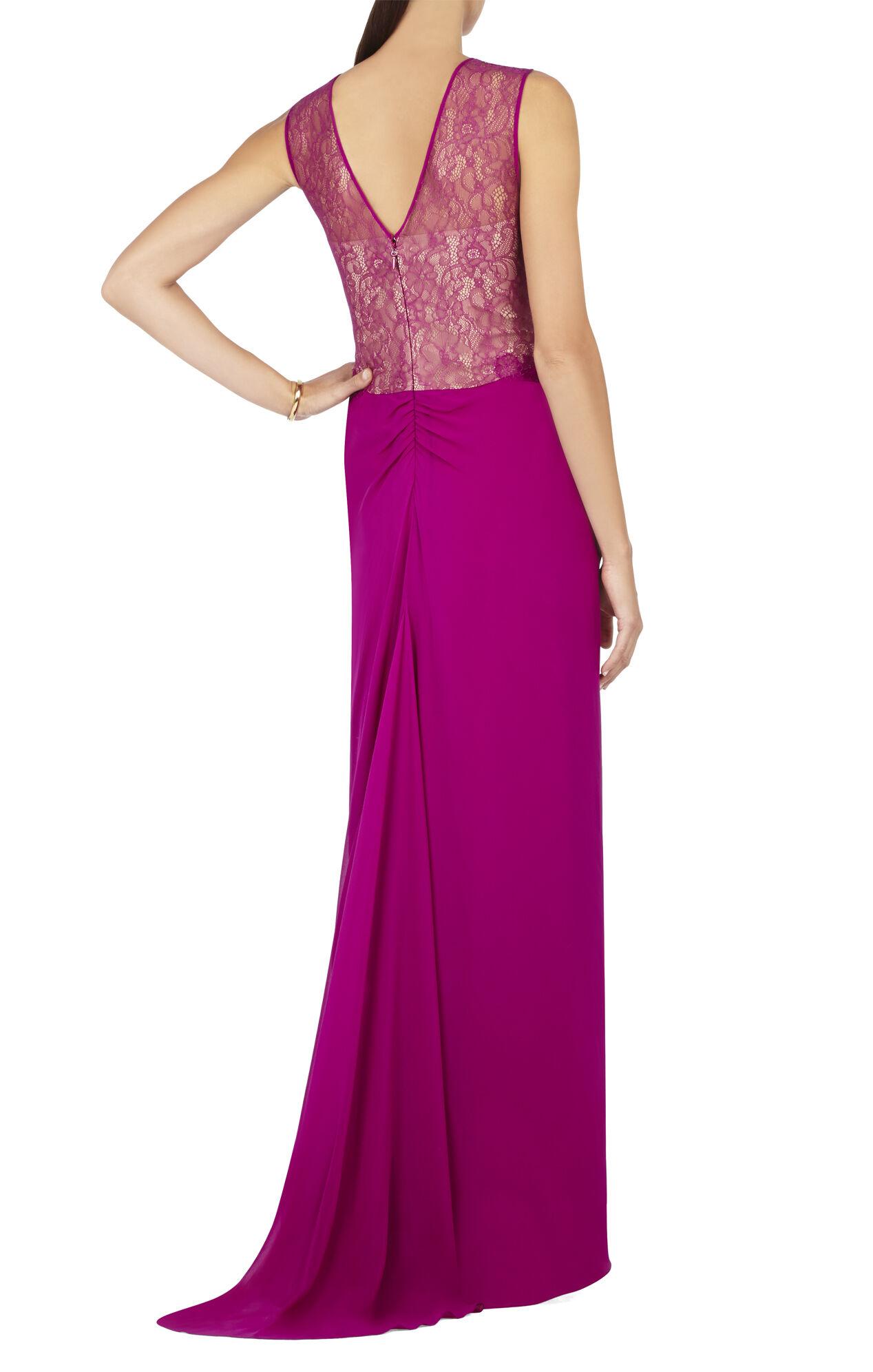 Tamara Shirring-Detail Lace Yoke Gown