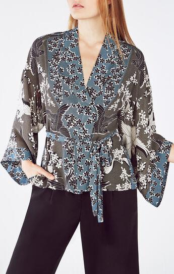 Adira Fluttering Doves Print Kimono Wrap Top