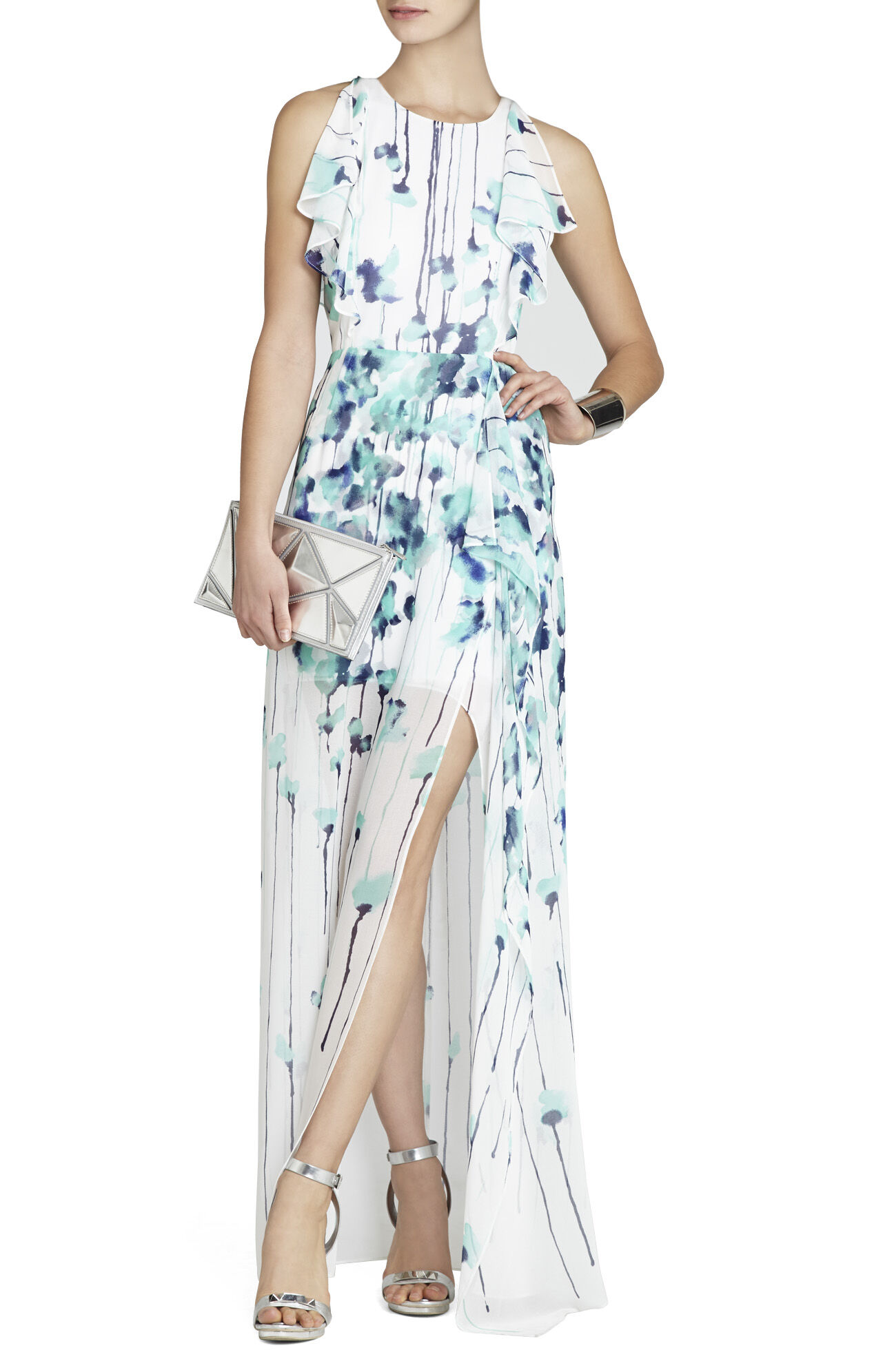 Maribel Draped-Side Skirt Gown