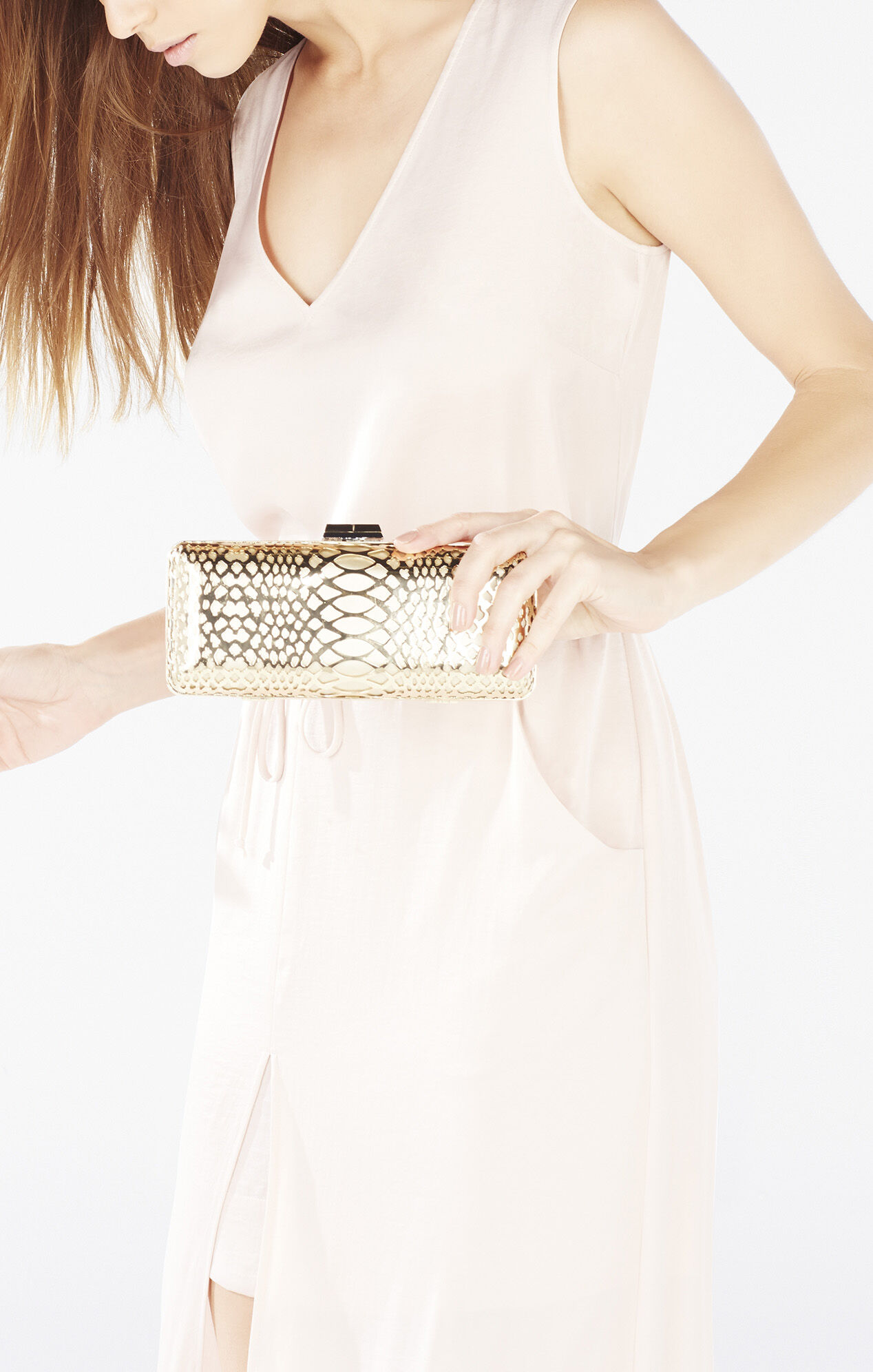 Kerri Perforated Snakeskin Clutch