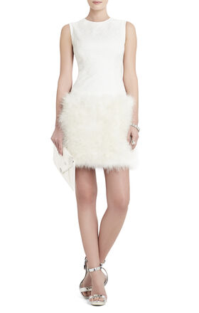 Aliss Sleeveless Feather-Hem Dress