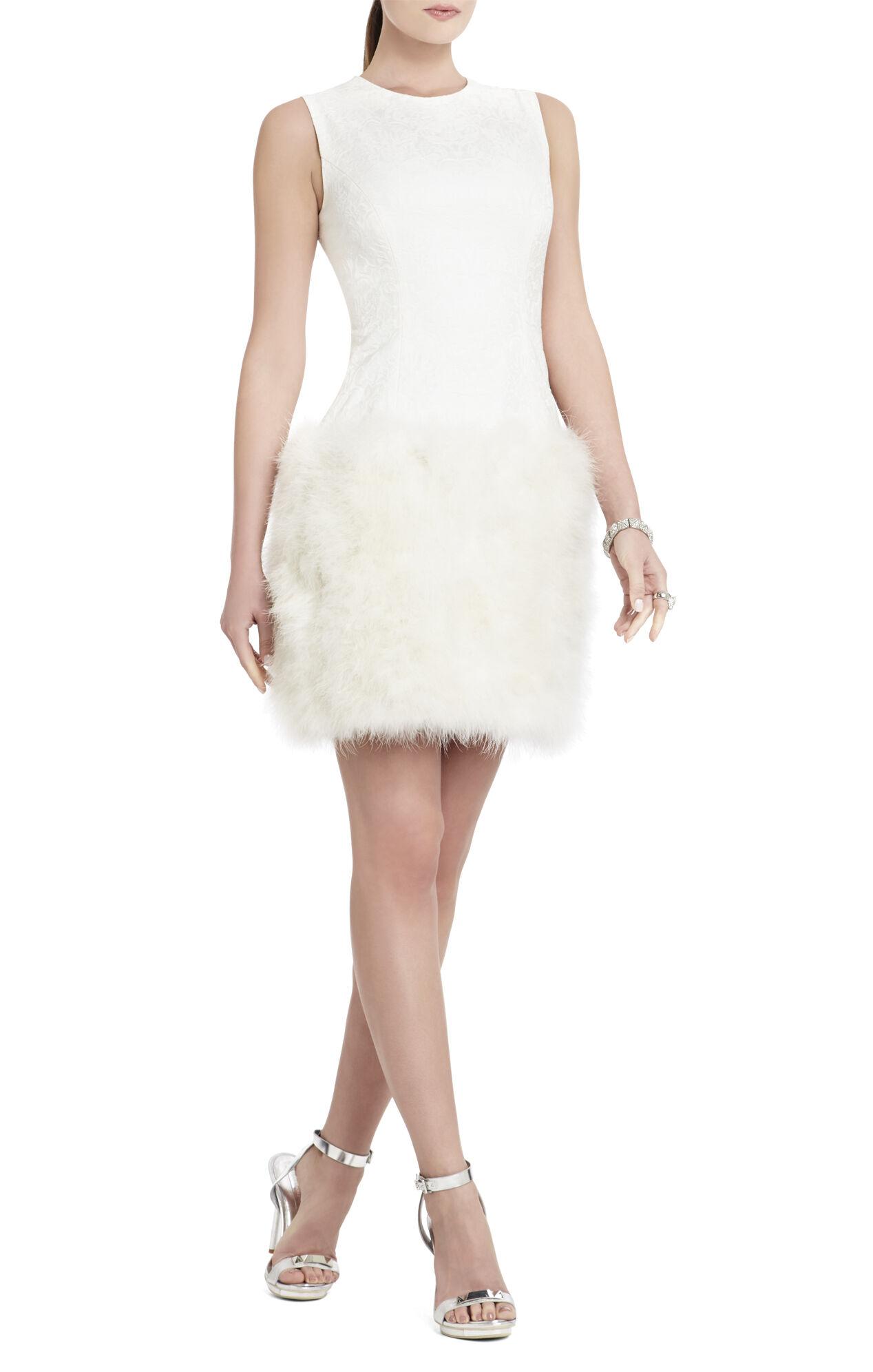 Aliss Sleeveless Feather-Hem Dress