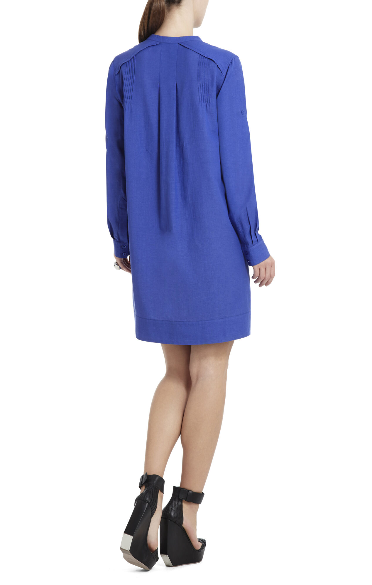 Adrielle Long-Sleeve Pintucked Dress