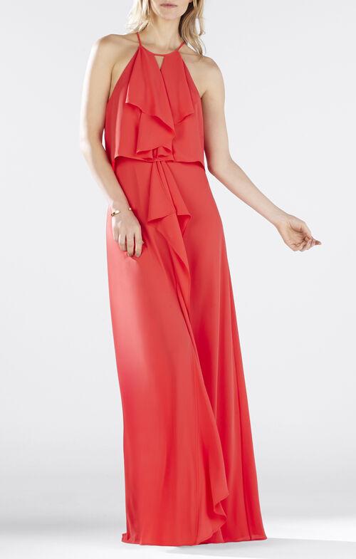 Janisa Halter-Neck Ruffle Gown