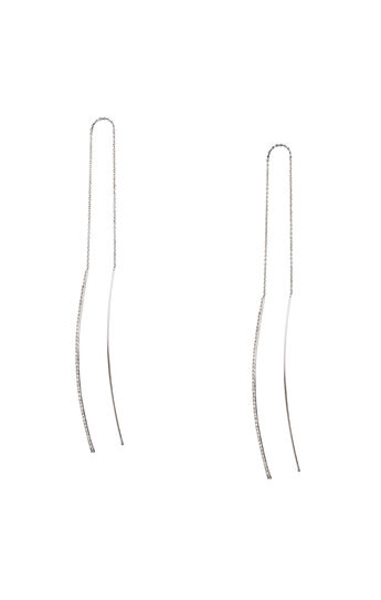 Pave Bar Threader Earrings