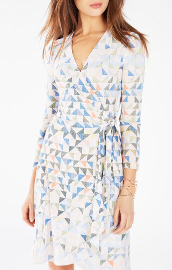 Adele Triangle Print Wrap Dress