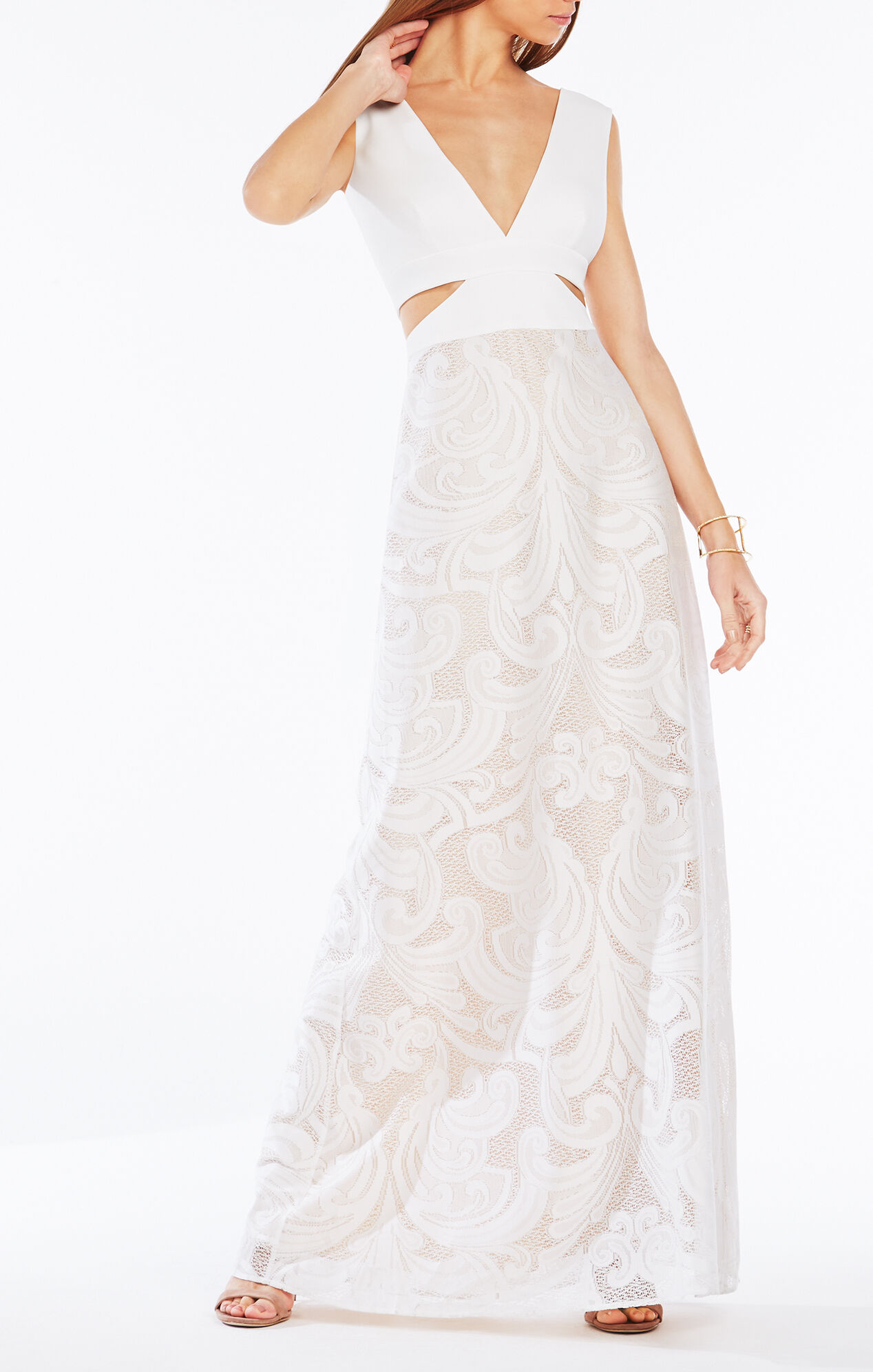 Marilyne Swirl Lace Cutout Gown