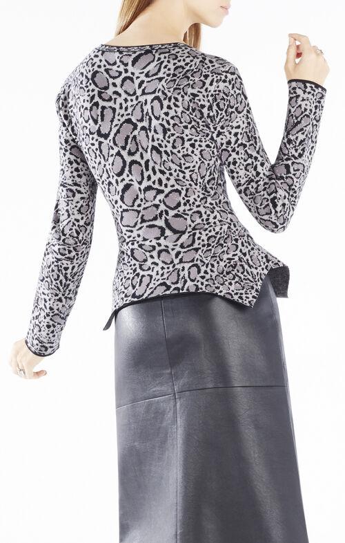 Elizabetta Ocelot Sweater Jacquard Peplum Top