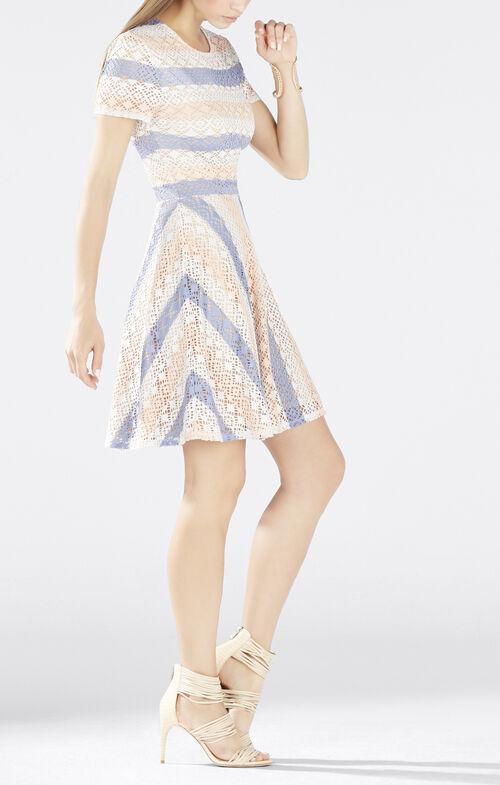 Renley Short-Sleeve Chevron A-Line Dress