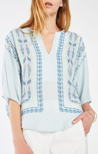 Felix Tapestry Print-Blocked Poet Blouse