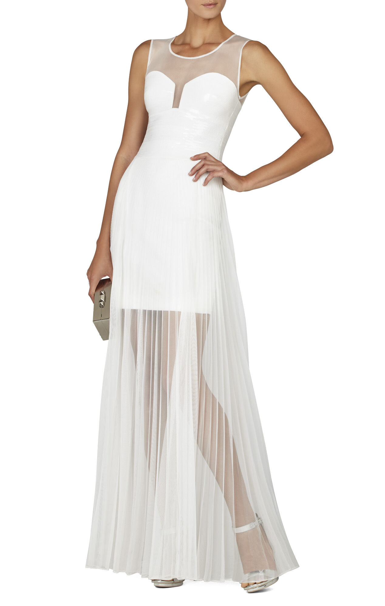 Alai Pleated Chiffon-Overlay Sequin Dress