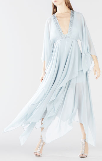Kylia Draped Skirt Kimono-Sleeve Dress