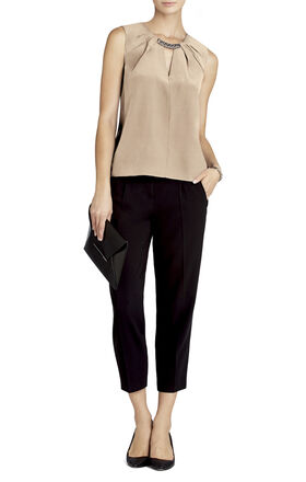 Lauren Beaded Neck Silk Top