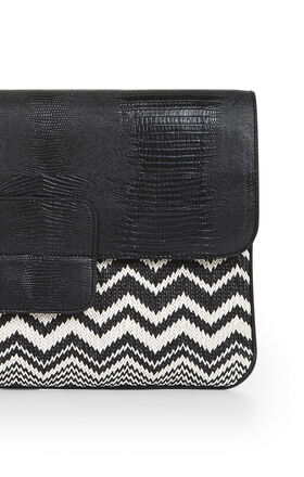 Leyla Lizard And Straw Clutch