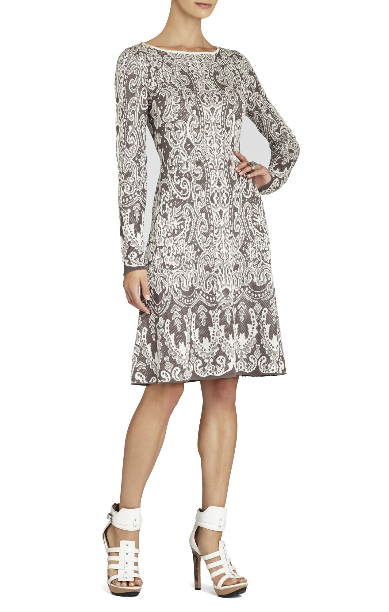 Petra Relief Jacquard Lace A-Line Dress