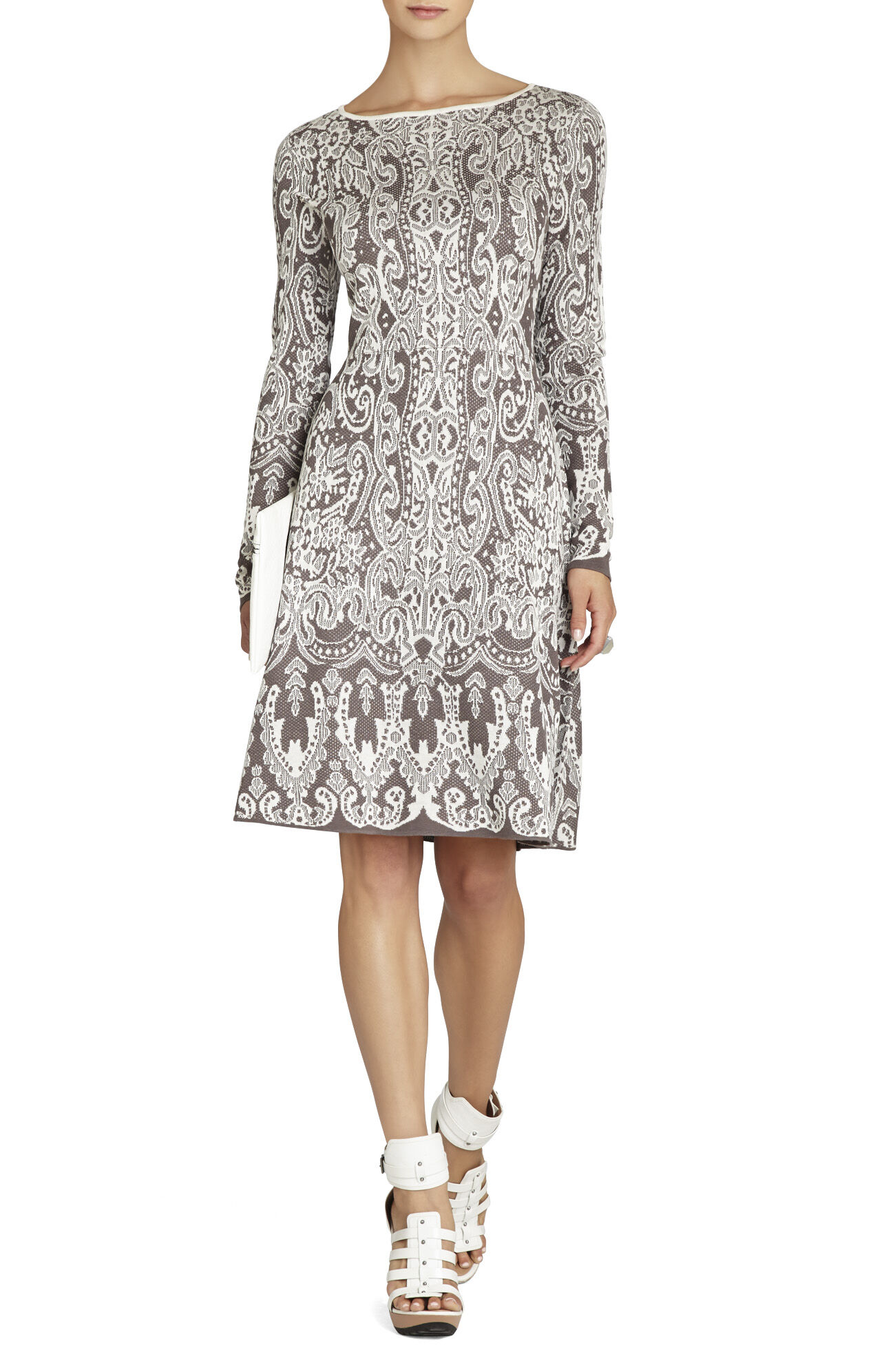 Petra Relief Jacquard Lace A-Line Dress
