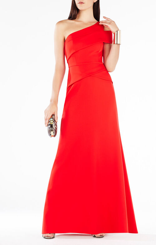 Annely One-Shoulder Peplum Gown
