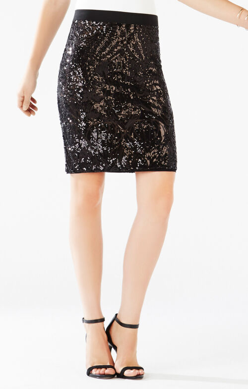 Paxton Tapestry Sequined Power Skirt