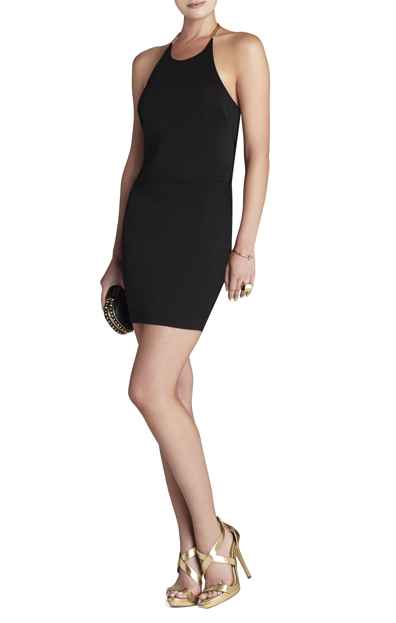 Leto Back-Chain Halter-Neck Dress