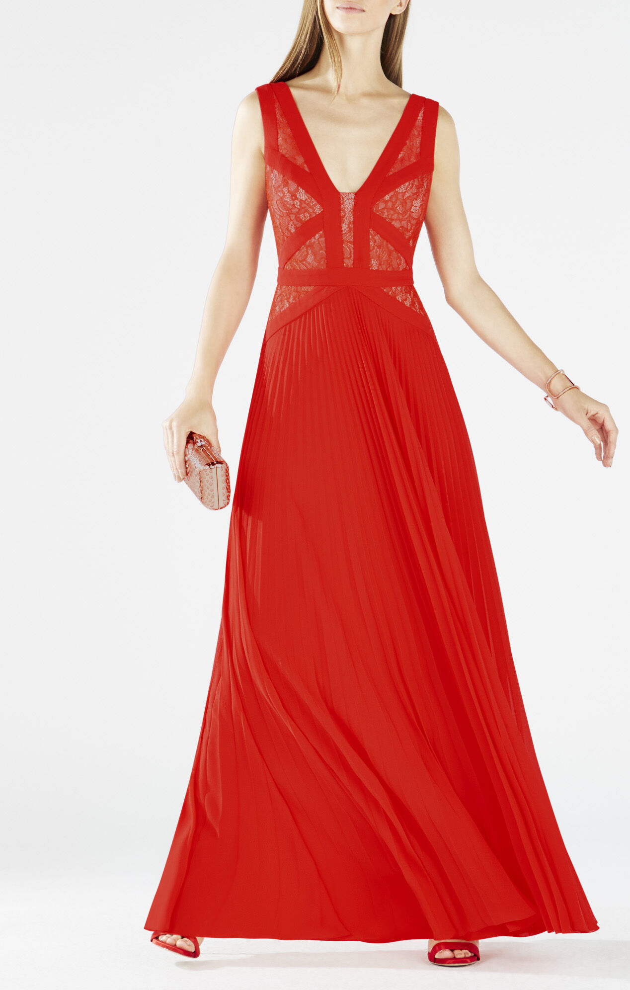Evonne Lace-Blocked Pleated Gown