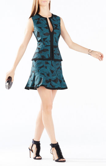 Suni Feather Jacquard Peplum Dress