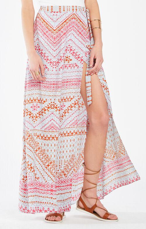 Aviva Geometric Print Wrap Maxi Skirt