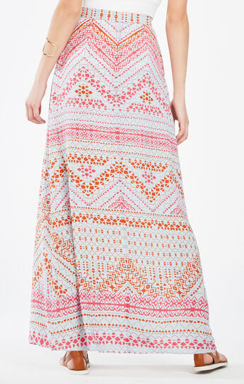 Aviva Geometric Print Wrap Maxi Skirt
