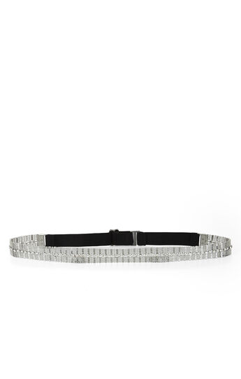 Stone and Chain Elastic-Back Waist Belt