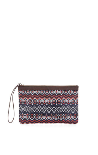 Tera Eastern Woven Border Striped Clutch