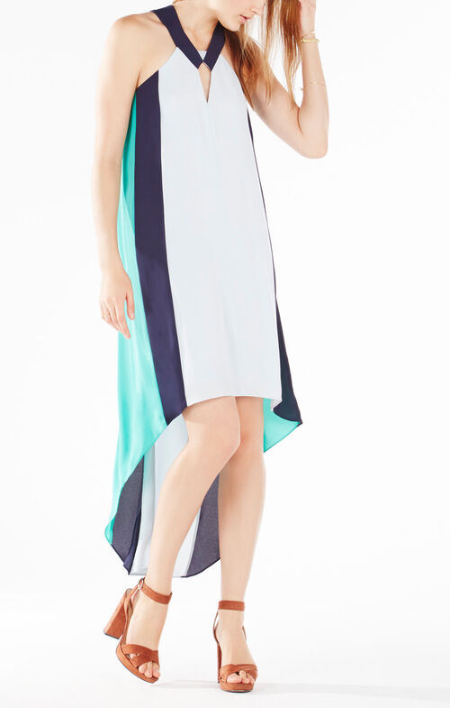 Aaila Color-Blocked High-Low Dress