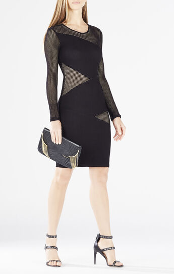 Tayna Asymmetrical Mesh-Blocked Dress