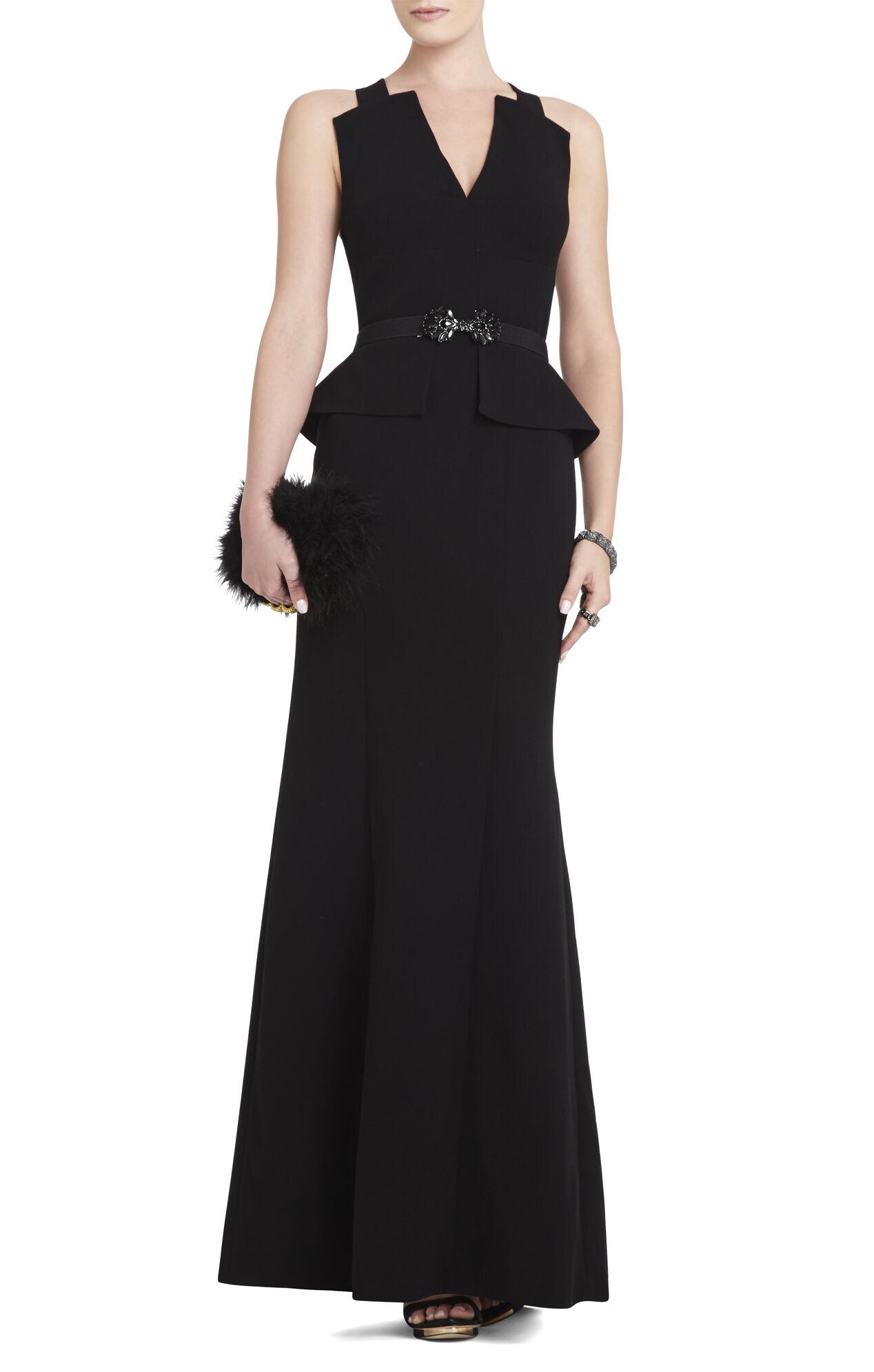 Rooney V-Neck Peplum Gown