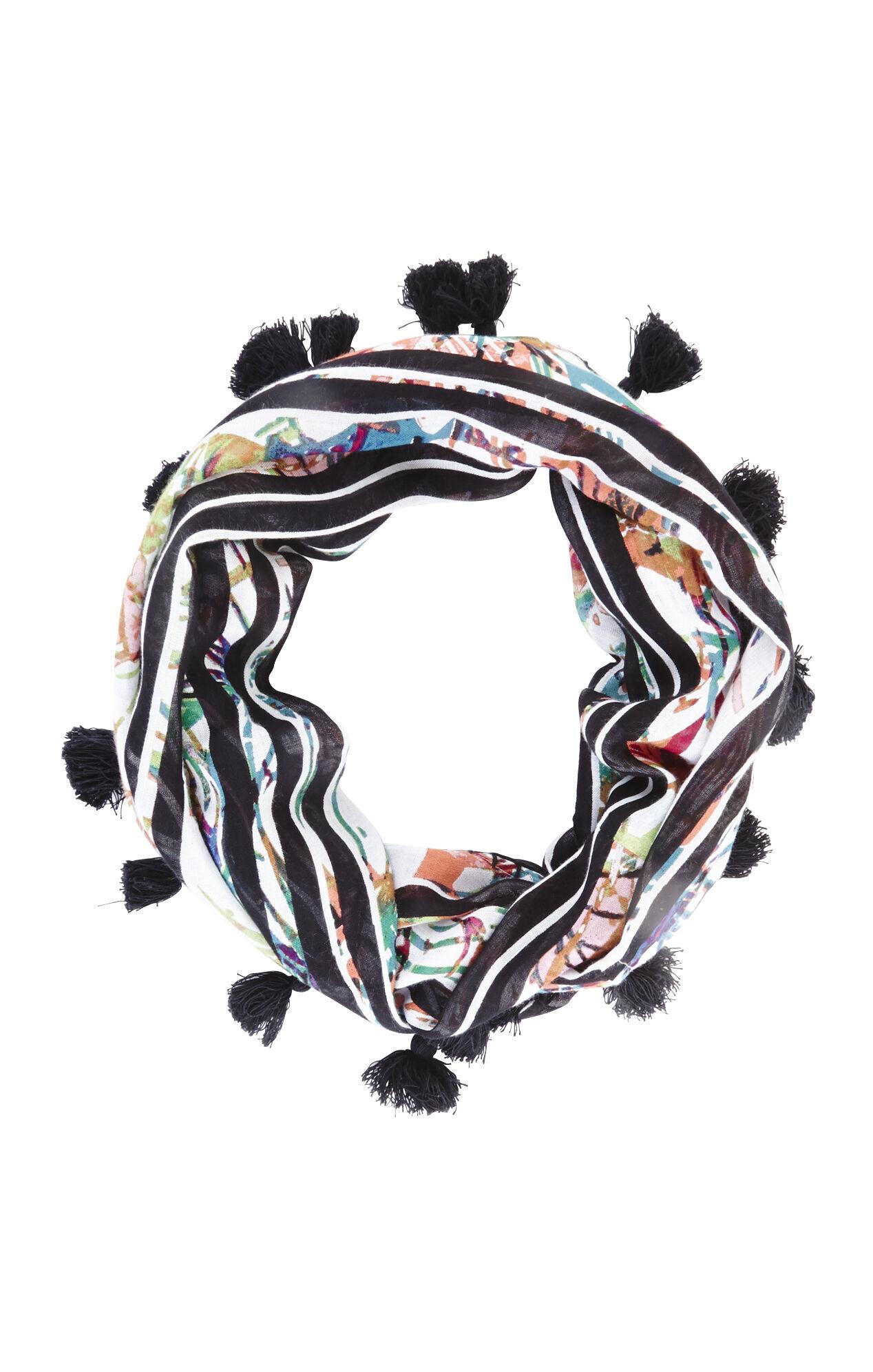 Floral Stripe Loop Scarf